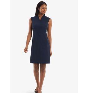 MM Lafleur NY V-Neck Fitted Navy Blue Midi Dress